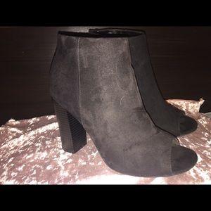 Black faux suede booties